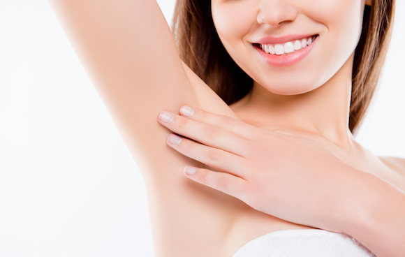 A woman's smooth underarm.