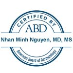 Certification logo from the American Board of Dermatology for Dr. Nguyen.