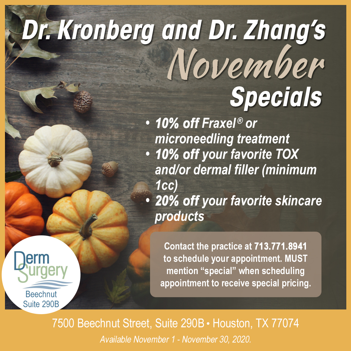 Dr. Kronberg's and Dr. Zhang's November Special