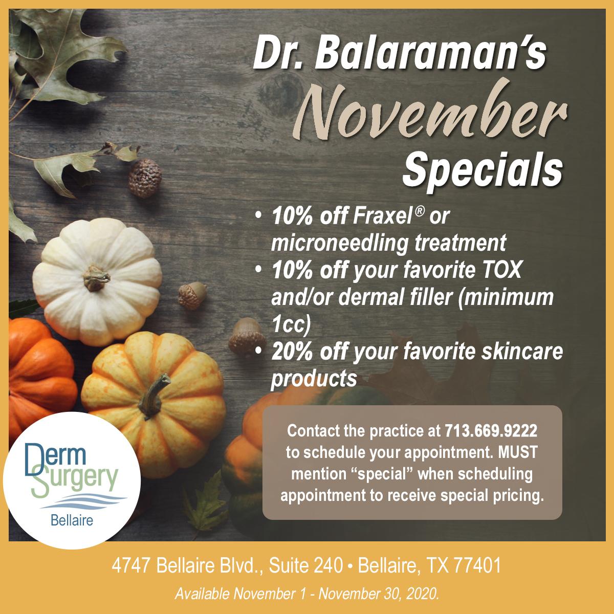 Dr. Balaraman's November Special