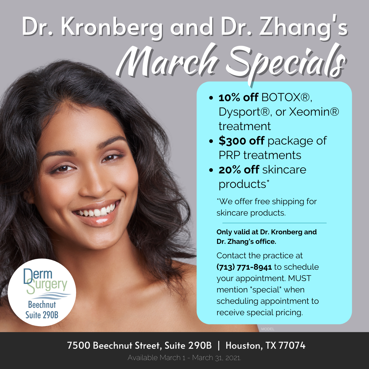 Dr. Kronberg and Dr. Zhang's March Specials