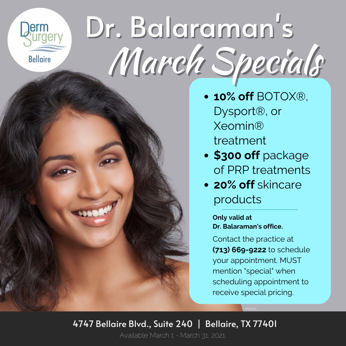 Dr. Balaraman's March Specials