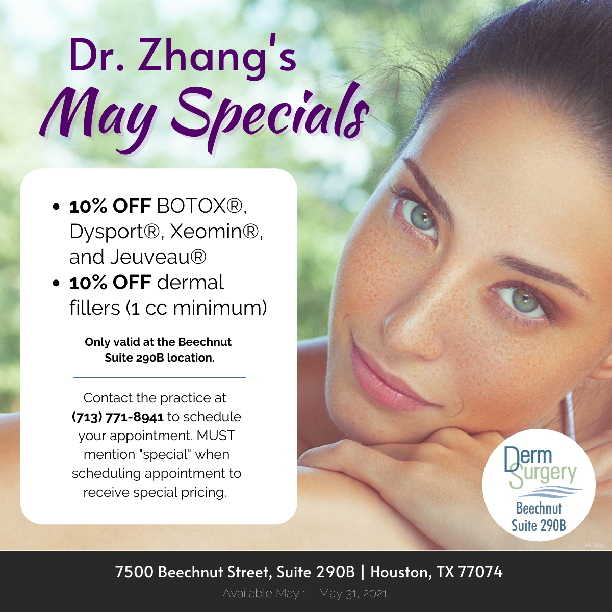 Dr. Zhang's May Specials